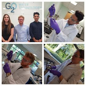 Teeside University students Helena Driffill-Agar, Mark Parker and Michael Cardoso at work in the G2O lab.