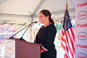 Sara Greenstein, president and CEO of Lydall, at the ground-breaking ceremony. Photo Regan Cleminson for Lydall.