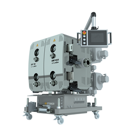 Ettlinger's new continuous melt filter, the ERF 1000 is for very high throughputs of up to 10,000 kg/h.