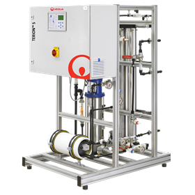 The TERION S standard single-skid unit combines single pass reverse osmosis (RO) and continuous electrodeionization (CEDI) to produce high-grade deionised water.