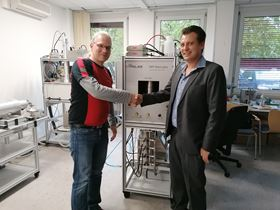 JP Air Tech's quality manager, Brian Vickmann (right) and sales and application engineer, Sven Schütz (left) from Palas during the final acceptance of the test rig.