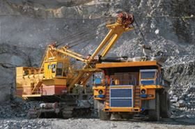 Extraction of iron ore.
