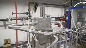 The prototype of the Panel Bed Filtration System being tested in the lab.