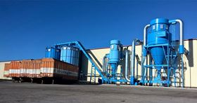 Cyclofilter dust extraction and wood waste handling plant handling over 10 tonnes of material per hour, the equivalent of 115,000 m3/hr.