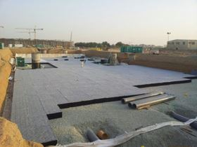 The storm water project under construction