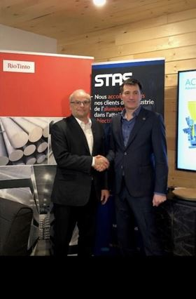Claude Dupuis (left), Rio Tinto's casting technology director – Aluminium; and Louis Bouchard (right), CEO of STAS.