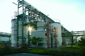 The ion exchange resin manufacturing plant at Bitterfeld, Germany.
