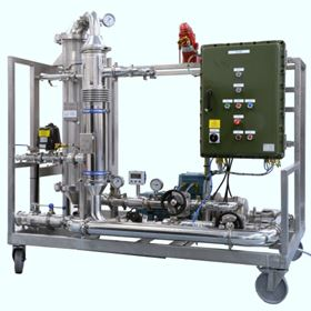 The system is manually operated for batch operations with safety cut outs for level and temperature.