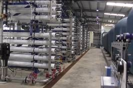 The reverse osmosis hall of the seawater desalination plant on Tortola in the British Virgin Islands.