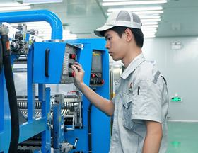 Production at Apollo Air-cleaner Co's plant in Shunde, China.