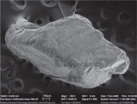 Figure 2: New 0.9 mm anthracite media, the crushed shape makes it angular and irregular with a visible external surface roughness dominated by 50 to 300 micron 'pores'