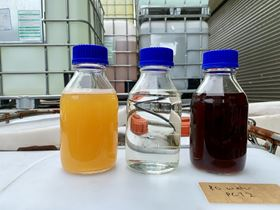Photo shot of the feed liquid waste, treated water and concentrated liquid waste from the initial case study. Photo: Memsift Innovations Pte Ltd, Singapore.