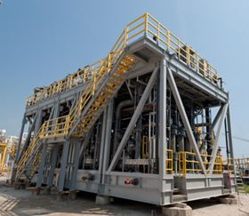 Figure 3: Seawater UF plant for desulphation pre-treatment. GIGAMEM modules for the SHENZI offshore platform in the Gulf of Mexico. (Courtesy of Polymem)