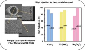 A high-performance dual-layer nanofiltration (NF) hollow fibre membrane, comprising polybenzimidazole (PBI) and polyethersulfone (PES), has been designed and characterised for effective removal of heavy metal ions from wastewater.