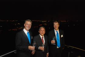 Martien den Blanken (PWN Executive Director), Chan Yoon Kum (PUB Assistant Executive Director) and Pieter Spohr, CEO of PWN Technologies officially toast the launch of PWN Technologies from the heights of Singapore