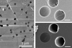 On the left, an atomic-force microscopy image shows a nanoporous graphene membrane after a burst test at 100 bars. The image shows that failed micromembranes (the dark black areas) are aligned with wrinkles in the graphene. On the right, two zoomed-in scanning electron microscopy images of graphene membranes show the before (top) and after of a burst test at pressure difference of 30 bars. The images illustrate that membrane failure is associated with intrinsic defects along wrinkles.