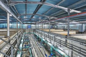 This waste water treatment works near Derby, UK supplies clean drinking water to the growing community in the city's north-west area.