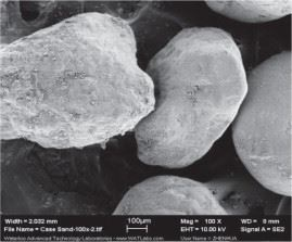 Figure 1: Typical 0.5 mm filter sand categorised as a sub-angular shape.