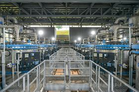 The ceramic membrane vessels at the CCKWW plant. Photo courtesy of PUB, Singapore's National Water Agency.