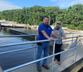 Operations supervisor Chris Earl with manager, Nancy Busen at Bentonville Water Resource Recovery Facility.