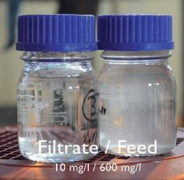 Figure 2: Clear process water produced by the Sofi Filter.