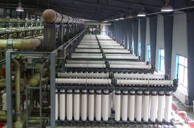 Figure 2: Tangshan UF system for SWRO pre-treatment. UF membranes housed in the T-Rack system, treating 110,000 m3/day of seawater. (Courtesy of inge GmbH)