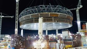 The Liner Cup for Hinkley Point C being lifted into place. (Image: EDF Energy)