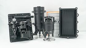 Filtration solutions for the fuel cell. From left: water separator, ion exchanger and cathode filter.