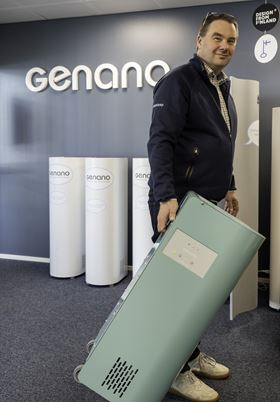 CEO Niklas Skogster, with the Genano 350 indoor air decontaminator which weighs only 17 kilos and has a small footprint.