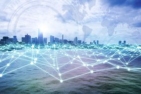 A modern city skyline and illustration of a smart network concept.