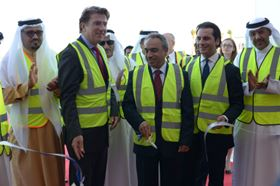 H E Essam Bin Abdallah Khalaf, Minister of Works (centre), officially opens the HYBACS upgrade at Tubli Wastewater Treatment Works, Bahrain, accompanied by Iain Lindsay OBE, British Ambassador to the Kingdom of Bahrain (left), and Daniel Ishag, CEO of Bluewater Bio (right).