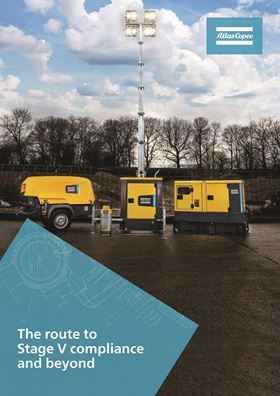 The Atlas Copco guide outlines the scope of the Stage V standards as a means of reducing air pollution.