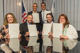 Chicago Mayor Rahm Emanuel (top left) and Aviv Ezra, consul general of Israel to the Midwest (top right) witnessed the signing. Left to right: BGU President Prof. Rivka Carmi; Prof. Dan Blumberg, BGU's vice president and dean for research and development; Prof. Aaron Packman of NU's Department of Civil and Environmental Engineering and director of the Center for Water Research; and Prof.Fruma Yehiely, NU associate vice president for research.