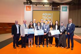 Mr. Martin Stahl, TRSDC (far right) presented the award to the winners of the Brains for Brine Challenge at Aquatech 2019. (Image: TRSDC)