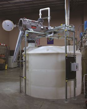 The Centri-Sifter™centrifugal sifter separates about 3409 kg per week of fine grain particles from 8Feathers' stillage.