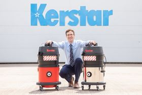 Filtermist International CEO James Stansfield with the Kerstar vacuum cleaners.