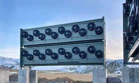 Climeworks' new large-scale direct air capture and storage plant, Orca, under construction. (Image: Climeworks)