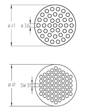 Figure 4: Comparison of a multi channel ceramic membrane element with an outer diameter of 41mm having 37 round channels with channel diameter of 3.6mm and a new element with 61 hexagonal channels having the same outer diameter of 41mm.