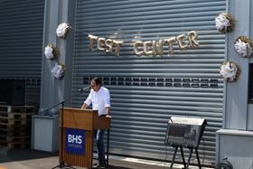 Dennis Kemmann, managing director of BHS-Sonthofen, at the opening of the new test centre.