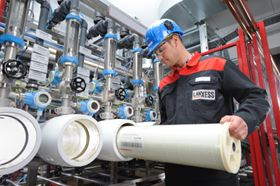 Lewabrane® reverse osmosis membrane elements from LANXESS being installed.