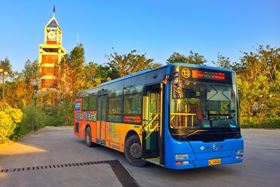 Huizhou, China - November 2016: A city bus stops at the bus station in Huizhou, China, The bus using natural gas as raw materials for the power. (image: Chintung Lee/Shutterstock)