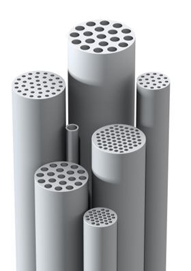 Figure 2: Examples of Schumasiv ceramic membrane filter elements of different geometries.