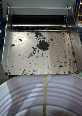The swarf material that was removed from the machine was saturated with oil and OSL Cutting Technologies had to pay for its removal and disposal.