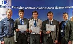 (Left to right) Ken Hayhurst from Eminox, students Jacob Woolley, Joe Spencer, Matthew Thorne and their teacher, Dave Birchall.