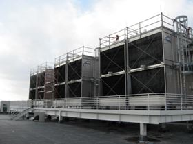 Water cooling towers at the Federal Bureau of Investigation (FBI) Criminal Justice Information Service (CJIS) Division's facility in Clarksburg.