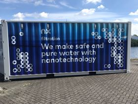 NX Filtration's mobile hollow fibre nanofiltration system at the Twentekanaal in the Netherlands.
