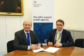 Louis Taylor, chief executive of UK Export Finance (UKEF) and Alastair White, deputy chairman, Biwater, at the development works loan signing event in London, UK.