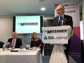 Chris Meissner speaking during the new facility press conference while Mary Buckley, IDA Ireland executive director, and Minister for Rural and Community Development, Michael Ring TD, look on.