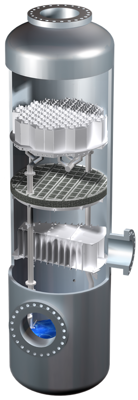 Sulzer Chemtech separation column equipped with jointly developed technology. Image copyright Sulzer Chemtech.
