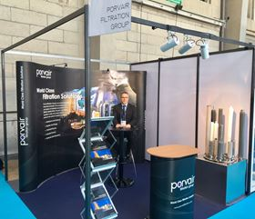 Porvair's nuclear business development manager, Xavier Jahouel at the company's stand at Fratomeo.